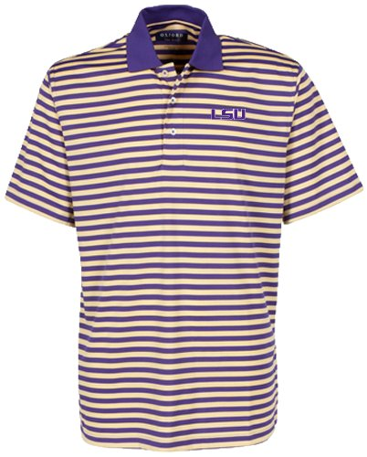 Oxford Golf NCAA LSU Tigers Men's Bar Stripe Golf Polo, Grape/Citrus, (Lsu Tailgate Golf)