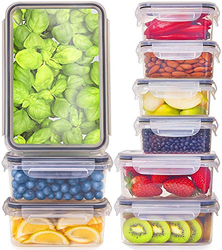 (Fullstar [9-Pack] Food Storage Containers with Lids - Plastic Food Containers with Lids - Plastic Containers with Lids BPA Free - Leftover Food Containers - Airtight Leak Proof Food Container)