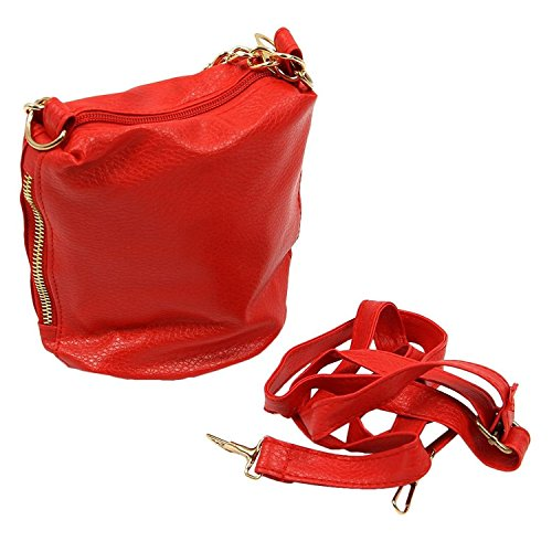 TOOGOO(R) Sacchetto popolare della sacchetto della catena del sacchetto della borsa di nuovo stile occidentale bianco Rosso