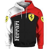 Unisex långärmad vår- och höstytterkläder 3D digital Ferrari-logotyp tryckt dragkedja huvtröja ledig tröja