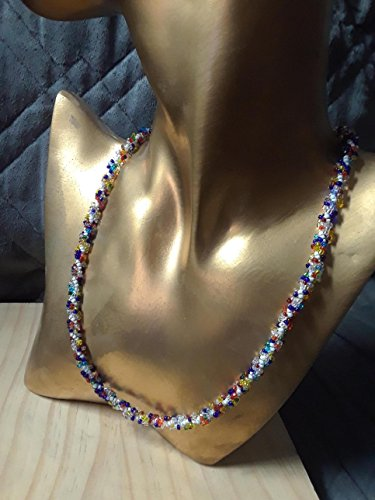 Confetti Sparkle Seed Bead Beaded Spiral Necklace