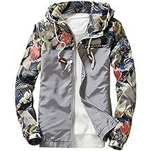 Ankola Men's Jackets, Floral Bomber Jacket Hip-Hop Slim Fit Sweatshirt Zipper Hooded Coat