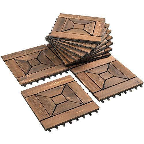 NanaPluz 12″x12″ 11Pcs Spiral Design Interlocking Floor Tiles Patio Pavers Wood Deck Tiles – Brown with Ebook