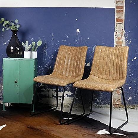 2er Set Esszimmerstuhl Brent Industrial Style Vintage Look