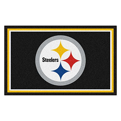 (FANMATS NFL Pittsburgh Steelers Nylon Face 4X6 Plush Rug)