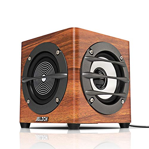 JELICH Wood USB Computer Speaker – Wired USB Powered Multimedia Small Speaker with Double Bass for PC /Desktop /Laptops /Smart Phone by JELICH