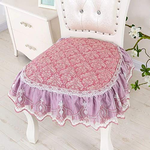Lace Edge Decor Seat Cushion Mat Kitchen Office Dining Chair Seat Embroidered Home Chair Seat Buttocks Pad