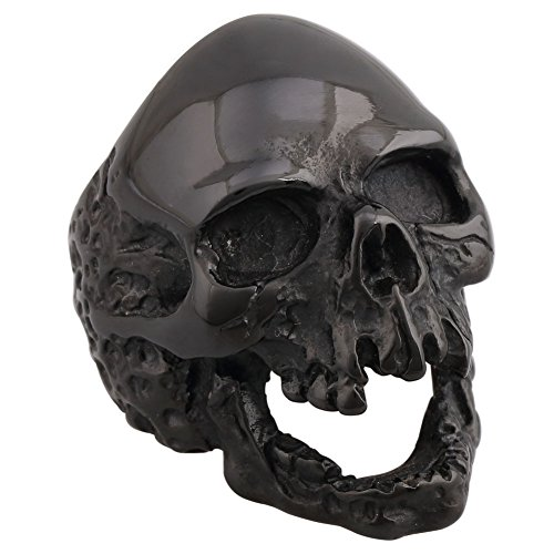 4ZOM Dead Walking Solid Death Skull Zombi Mens Solid Stainless Steel Ring ()