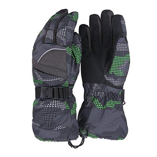 Unistrengh Ski Snowboard Gloves Warmest Windproof Breathable Winter Mittens for Mens Skiing Snowbooarding (X-Large, Green/Black) (Jacket Snowboard Warmest)