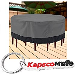 "Outdoor Patio Furniture Table and Chairs Cover 94"" Diameter Dark Grey with Black Hem - 100% Waterproof Winter Storage Cover Deck Patio Backyard Veranda Porch Table Covers + KapscoMoto Keychain"