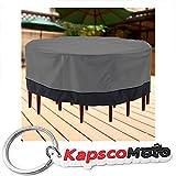 Outdoor Patio Furniture Table and Chairs Cover 94'' Diameter Dark Grey with Black Hem - 100% Waterproof Winter Storage Cover Deck Patio Backyard Veranda Porch Table Covers + KapscoMoto Keychain