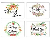 Thank You Cards Pack Of 100 - Blank Thank You Notes - Floral Water Colors - 4 X 6 Inches Thick White Note And Envelope - Personal And Business Use - Wedding And Baby Showers