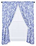 Victoria Park Toile 68-Inch-by-84 Inch Tailored Panel Pair with Tiebacks, Blue