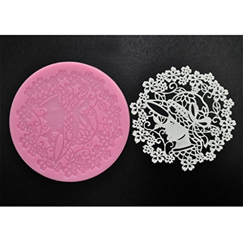 FOUR-C Baking Supplies Sweet Lace Mat Silicone Mold for Cake Making Color Pink