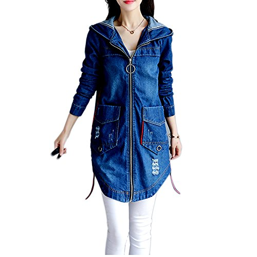 Kaachli Women's Cotton Denim Long Zipper Ripped Jeans Coat Hoodie (L, Blue) Womens Ladies Jean Denim Coat