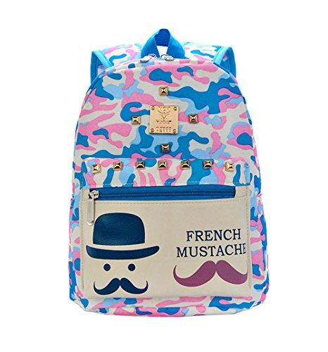 Price comparison product image Fashion canvas cute mustache school bags girls camouflage blue colors backpack