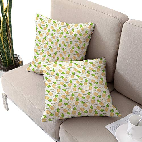 Tropical Square Toddler Pillowcase,Herringbone Stripes with Dots Background Summer Fruits Arrangement Fern Green and Orange W24 xL24 2pcs Cushion Cases Pillowcases for Sofa Bedroom Car ()
