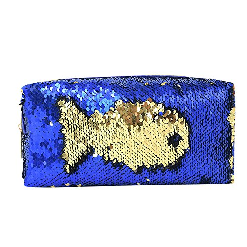Shusuen_beauty Mermaid Sequin Cosmetic Case Makeup Coin Pouch Storage Zipper Purse Bag