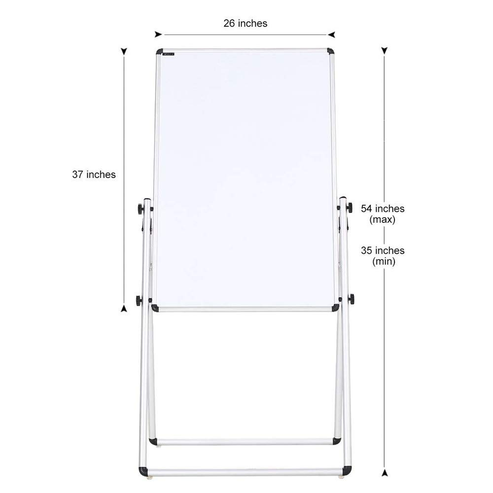 ZHIDIAN Double-Sided Magnetic Whiteboard with Stand Height-Adjustable 36 x 24 inches whiteboard with Markers and Magnets Movable Dry Erase Board on Wheels Aluminium Frame with Marker Tray