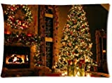 Fabulous Store Cutsom Rectangle Peaceful Christmas Eve Fireplace Pillow Cases Covers Standard Size 20x30(one side)