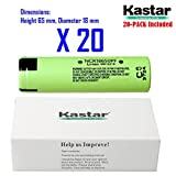 Kastar 18650 (20-PACK) NCR18650B High Drain Lithium-ion Battery, High Genuine Quality 3.7V 2900mAh Rechargeable Flat Top for Electric Tools, Toys, LED Flashlights and Torch ect