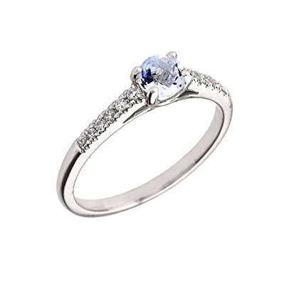 a99f1d00574 10K White Gold Diamond and Genuine Aquamarine Engagement Proposal Ring (Size  4)