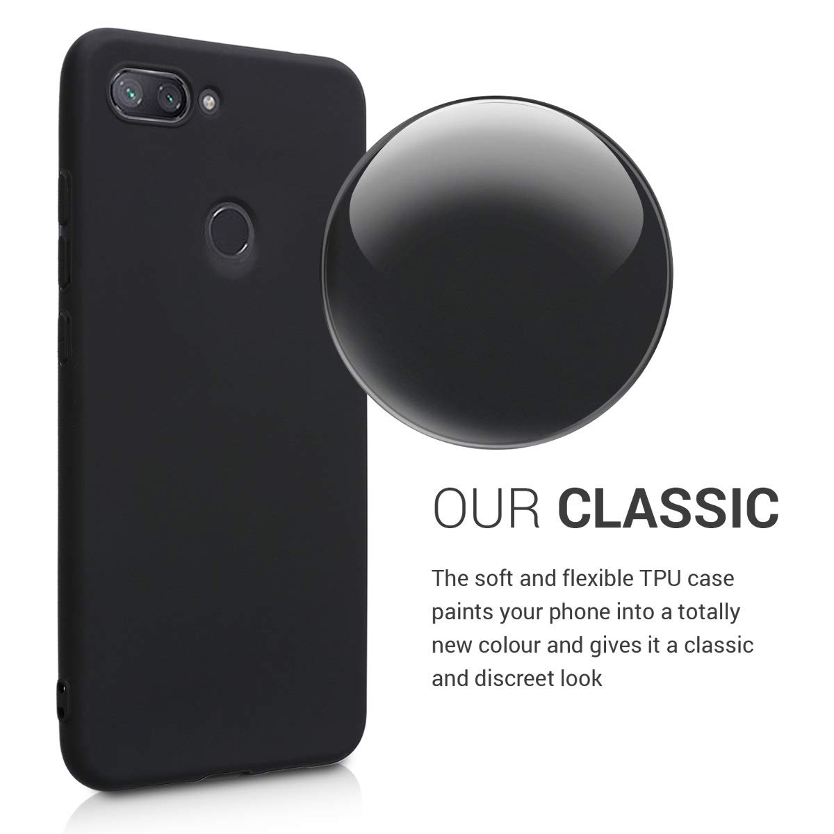 kwmobile TPU Silicone Case for Xiaomi Mi 8 Lite - Soft Flexible Shock Absorbent Protective Phone Cover - Black Matte
