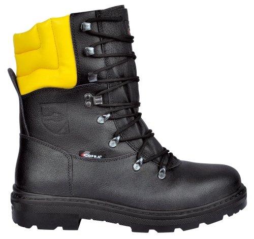 Cofra Schnittschutz-Stiefel Woodsman BIS Forstarbeiter Arbeitsstiefel mit Sägeschutz 44, schwarz, 25580-000