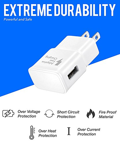 Galaxy S7 Wall and Car Charger Kit with Micro-USB Cable/Galaxy S6/Galaxy S6 Active Charger Fast Micro USB 2.0 Cable by ixir Compatible with Samsung Products - (Fast Wall + Car Charger + 2 Cables) by Ixir (Image #3)