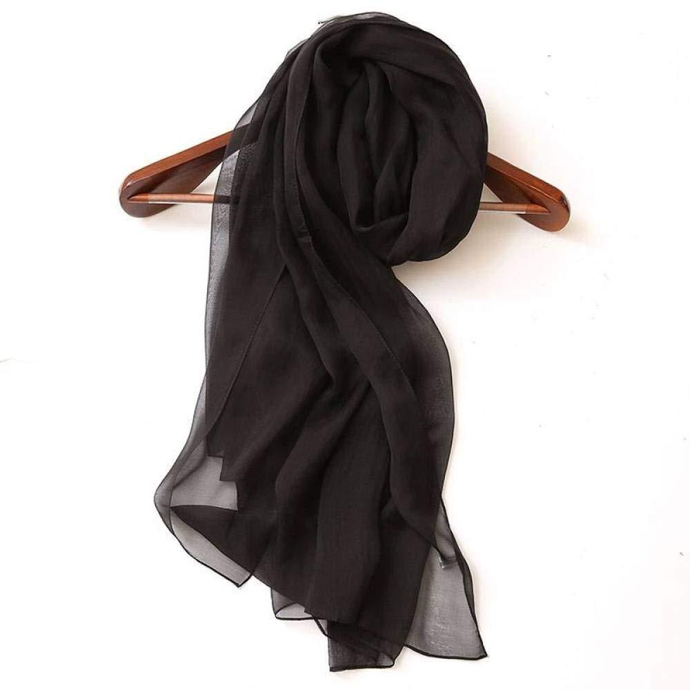 Black Ladies Vintage Silk Scarves Silk Silk Shawl Summer Long Paragraph Pure color Sunscreen Shawl Wild Scarf Jiss