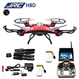 LANDVO JJRC H8D FPV Headless Mode 6-Axis 2.4Ghz Gyro RTF RC Quadcopter Drone with 5.8G 2MP HD Camera and Screen on Remote Red with LANDVO Logo (H8D with 2pcs 650mAh battery)
