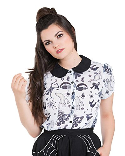 Hell Bunny Spooky Ghost Halloween Blouse Chiffon Top - White (XL) -