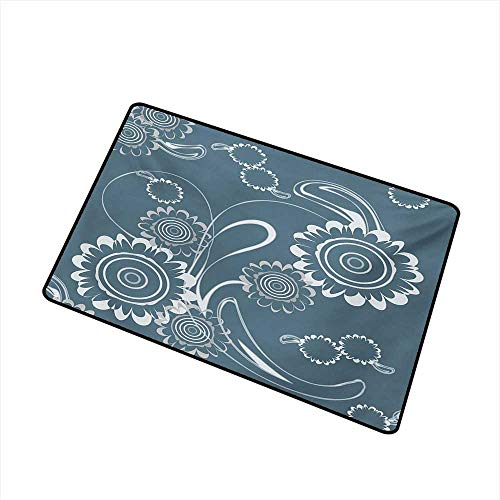 Becky W Carr Grey Blue Welcome Door mat Abstract Blossoming Petals with Abstract Swirls Romantic Flowers Door mat is odorless and Durable W29.5 x L39.4 Inch,Slate Blue Grey and White