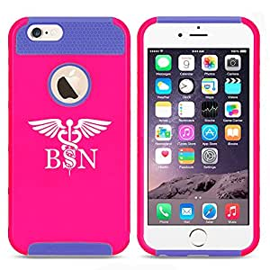 Apple iPhone 6 6s Shockproof Impact Hard Case Cover BSN Bachelors Of Science Nurse Caduceus (Hot Pink-Blue)