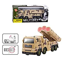 Geminismart Army Truck with Missile Launcher Movable Launcher Plastic Military Vehicle Toy (C-Brown)