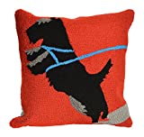 Liora Manne Whimsy Dog Walk Indoor/Outdoor Pillow, Red