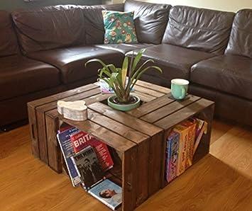 Handmade Wooden Crate Coffee Table Dark Brown Finish Amazonco