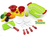 Little Treasures Cutting Fruit Vegetables Pretend Play Children Kid Educational Stovetop Cooking Toy with kitchen Utensils
