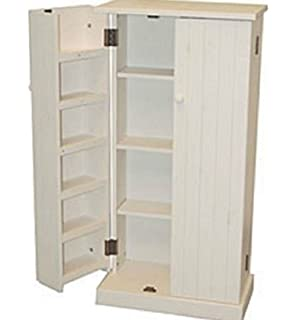 White Wood Storage Cabinet Pantry Cubpoard Utility Kitchen Food Cans  Organizer
