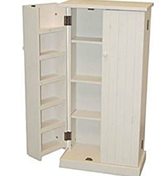 Merveilleux Amazon.com: White Wood Storage Cabinet Pantry Cubpoard Utility Kitchen Food  Cans Organizer: Kitchen U0026 Dining