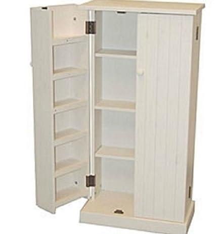 Amazon.com: White Wood Storage Cabinet Pantry Cubpoard Utility ...
