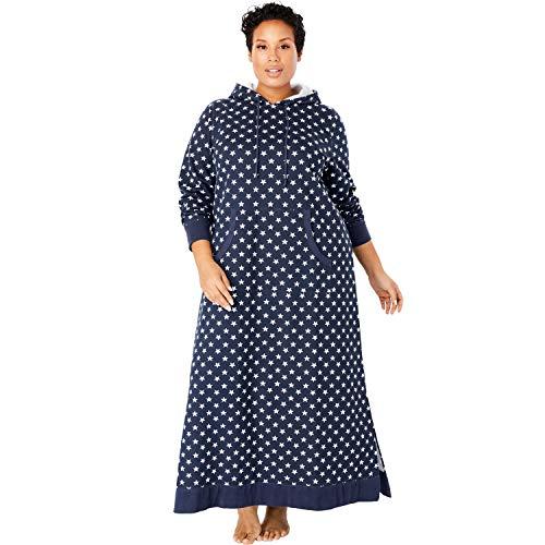 Dreams & Co. Women's Plus Size Long Hooded Sweatshirt Lounger - Navy Star, 22/24