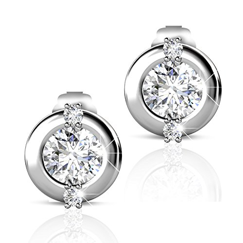 Billie Bijoux 925 Sterling Silver Earrings Studs 18k White Gold Plated Round Cut Aaa Cz Diamond Ston