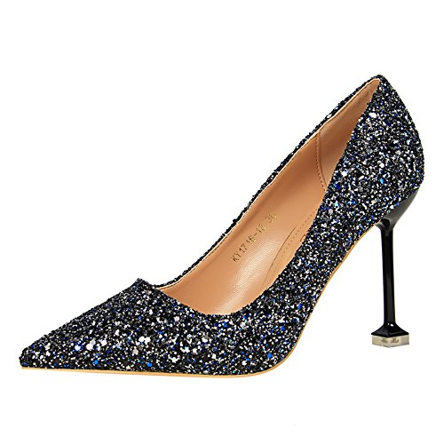 heeled leather with Xue 38 fine high a Silver shoes with Qiqi gradient female shoes mother tip marriage crystal shoes single blue wtxxqfX