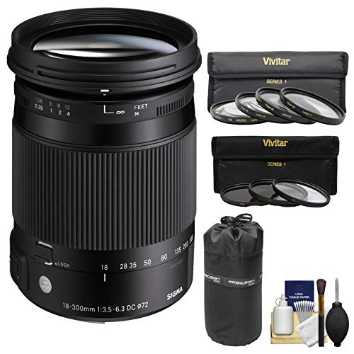 Price comparison product image Sigma 18-300mm f / 3.5-6.3 Contemporary DC Macro OS HSM Zoom Lens (for Nikon Cameras) with 3 UV / CPL / ND8 Filters + Macro Filter + Pouch + Kit for Nikon DSLR Cameras