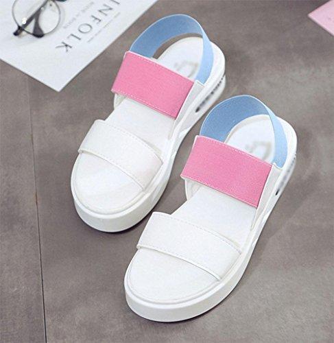 Sandalen weiblichen Studenten flache Bannfarbe Schuhe Wild Pink