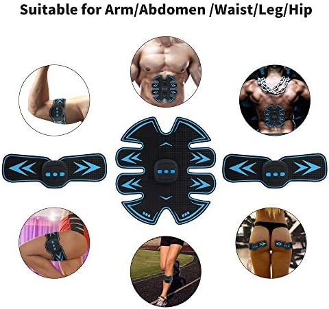 Eon Concepts Ultimate Abs Stimulator Muscle Toner Trainer Rechargeable with 20 Extra Gel Pads | EMS Abdominal Toning Belt for Men & Women | Arm & Leg Trainer | Portable Office Home Device 4