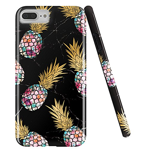 DOUJIAZ Compatible with iPhone 7 Plus Case,iPhone 8 Plus Case,Shiny Marble Design Clear Bumper TPU Soft Case Rubber Silicone Skin Cover for iPhone 7 Plus/iPhone 8 Plus-Purple Pineapple & Black