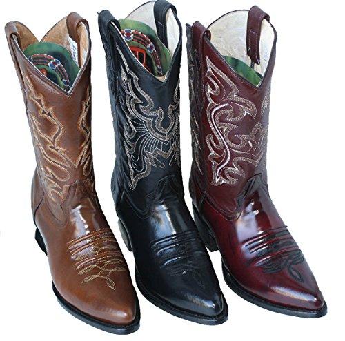 Stivali Da Cowboy In Vera Pelle Liscia Da Uomo, Medio Profilo Cognac