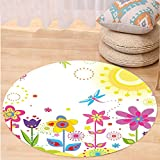 VROSELV Custom carpetFloral Summer Season Sun Butterflies Dragonfly Flowers Happiness Nursery Kids Spring Theme for Bedroom Living Room Dorm Multicolor Round 72 inches